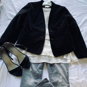 Loft Black Velvet notch collar blazer size 6P